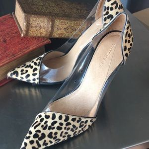 44f16902207 WITCHERY Stiletto Heels Leopard Print Pony Hair NWT